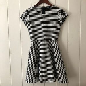 Kate Spade Striped Black&White Fit and Flare Dress